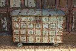 Tribal Dowry Chest on Wheels with faded blue paint